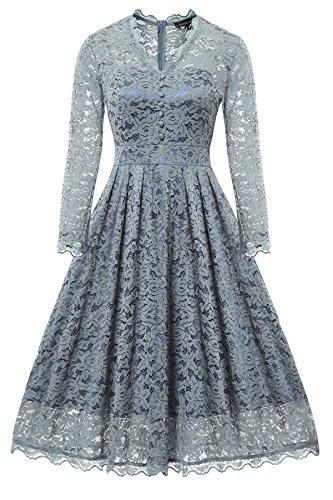 Gigileer Elegante 50s Damen Spitze Langarm Kleid Swing Abendkleid Party Hochzeit Airy blau-2 M