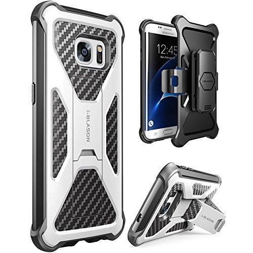 i-Blason Samsung Galaxy S7 Edge (2016 Release) Hülle Prime Serie - 2-Schicht Schutzhülle/Tasche / Gehäuse/Zubehör mit Standhalter, schwenkbaren Gürtelschnalle mit Locking-Mechanismus (Weiß)