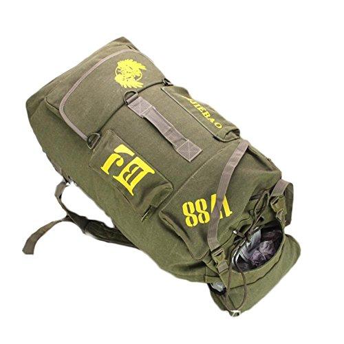 Rucksack 90L Große Kapazität Gepäck Tasche Leinwand Freizeit bewegen Klettern Camping Wandern Soft Outdoor Rucksack Khaki