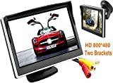 BW 5 Inch Digital Color TFT-LCD Car Monitor Car View Monitor HD 800*480 High -resolution with Two Brackets and Two Video Input, Full Color LCD Backlight Display for Car Rearview Backup Cameras/Car DVD/VCD/GPS/other Video Equipment