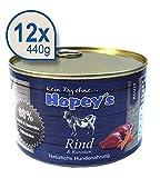 Hopey's Nassfutter Rindfleisch mit hohem Fleischanteil 98% getreidefrei für erwachsene Hunde 12 x 440g Dosen