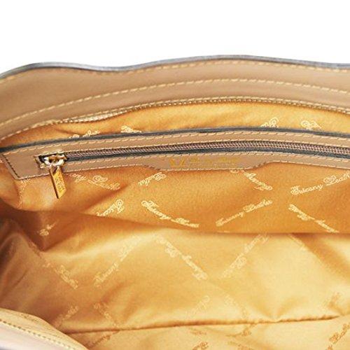 Tuscany Leather Olimpia - Borsa shopper in pelle Ruga - Misura piccola - TL141521 (Magenta) Talpa scuro