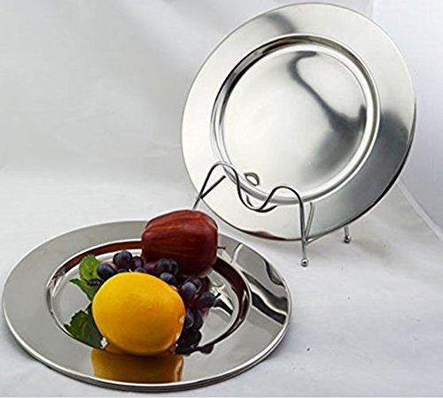 Rammento - Set di 6 piatti da portata in acciaio INOX, 33 cm Lucidi, spessi e pesanti.