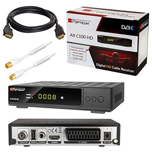 HB-DIGITAL Set: Opticum AX C100 HD Receiver für digitales Kabelfernsehen (HDMI, SCART, USB 2.0, Mediaplayer) + 5m HDTV Antennenkabel vergoldet mit Mantelstromfilter weiß + HDMI Kabel