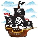 GET STICKING DÉCOR® Piraten Piratenschiff Wandtattoo, Wandsticker Kollektion, CartoonShip Pship.3, Glänzend Herausnehmbar Vinyl, Multi Farbe. (Large)