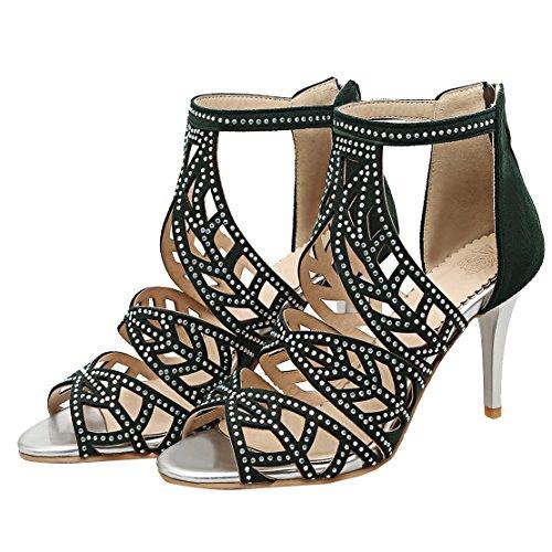 AIYOUMEI Damen Peep Toe Wildleder Römersandalen mit Strass und 8cm Absatz Stiletto High Heels Modern Pumps Schuhe Grüne