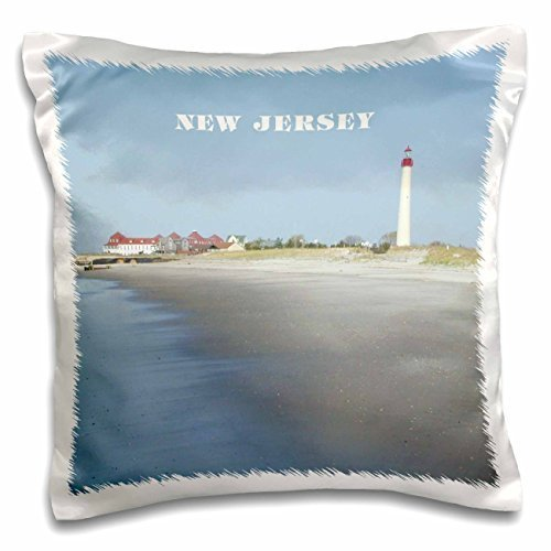Cape May New Jersey with Lighthouse N Beach-Pillow Case, 16 by 16