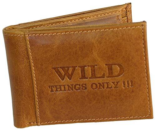 Wild Things only!!! Mini Geldbörse für Herren - Kleines Leder Portemonnaie (Cognac)