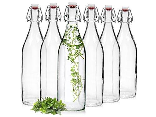 Bormioli Glasflaschen mit Bügelverschluss 'Giara' 6 teilig | Füllmenge 1000 ml | Gesamthöhe xx | Perfekt um Öle anzusetzten, Schnäppse zu veredeln oder zum servieren von Wasser, Säften und Weinen