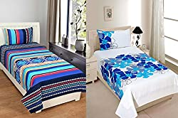 Shufflekart 100% cotton single bedsheet set of 2 with two pillow covers combo