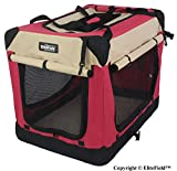 """EliteField 3-Door Folding Soft Dog Crate, Indoor & Outdoor Pet Home, Multiple Sizes and Colors Available (36"""" L x 24"""" W x 28"""" H, Red+Beige)"""