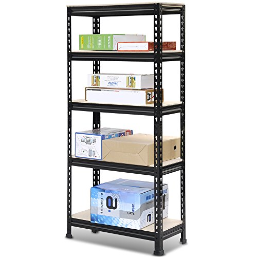 Popamazing Heavy Duty 1/2/3/4/5 Pieces 5 Tiers Boltless Commercial Racking Garage Shelving Unit Storage Shelf Display Black (Set of 4)