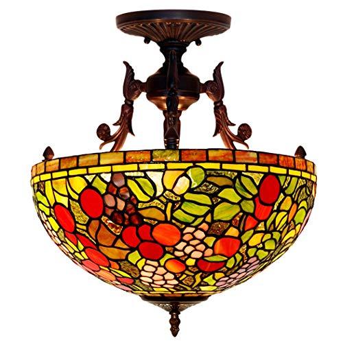 Kemeng Europäische Pastorale Deckenleuchte, Handgemachte Glasmalerei Tiffany-Stil Decke Hängende Pendelleuchte 16-Zoll-3 Lichter, Für Esszimmer, Schlafzimmer Oder Veranda -