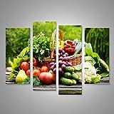islandburner Bild Bilder auf Leinwand XXL Leinwandbild Wandbilder Kunstdrucke Poster 4-teilig AHY-4erP Korb mit Obst und Gemüse