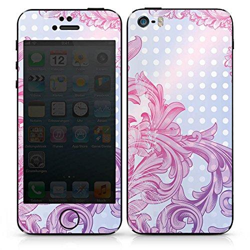 Apple iPhone SE Case Skin Sticker aus Vinyl-Folie Aufkleber Punkte Muster Floral DesignSkins® glänzend