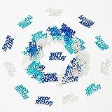 1000 Pezzi 50g Foglio Metallico Parole Lettere Buon Compleanno Coriandoli per Compleanno, Festa, Anniversario di Matrimonio, FESTIVITÀ, Occasioni Speciali (Combinazione Blu Argento)