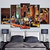 RQMQRL Resumen Modern Home Decor Canvas 5 Panel New York Hotel Impresión Enmarcada Pintura Arte de la Pared para la Sala de Estar Imagen Modular