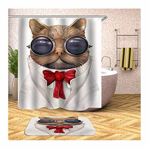 Daesar 40x60 Badematte Badewanne rutschfest Katze mit Brille Vintage 90x180 cm Duschvorhang, Badematte und WC Vorleger Set
