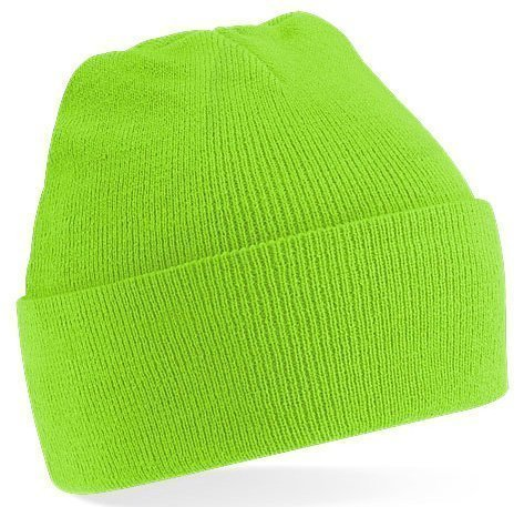 (Beechfield Knitted hat with turn up in Lime Green)