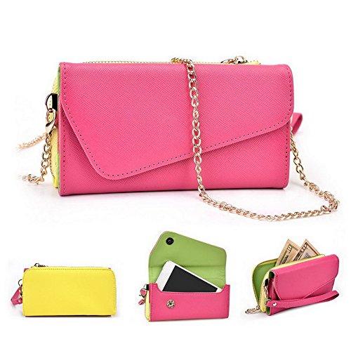Kroo d'embrayage portefeuille avec dragonne et sangle bandoulière pour ZTE Zinger Smartphone Multicolore - Green and Pink Multicolore - Magenta and Yellow