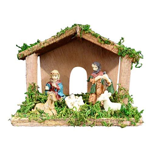Weihnachten Krippe-15cm Weihnachtskrippe aus Holz mit Porzellan Figuren-Innen-Home Dekoration