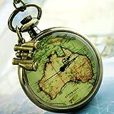 Steampunk Pocket watch Necklace pirate Gothic Victorian locket pendant charm Watch Steampunk watch with map binocle SET