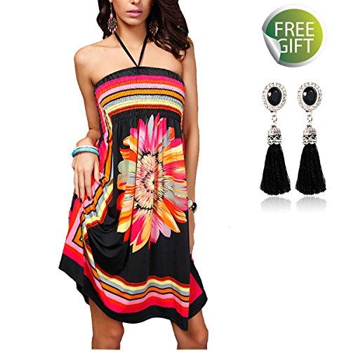 QBQ Frauen Strapless Ethnische Boho Bandeau Beach Sun Kleid Schlank Floral Badeanzug Badeanzug Vertuschen (Stil-01-Schwarz) (Taille Elastische Vertuschen)