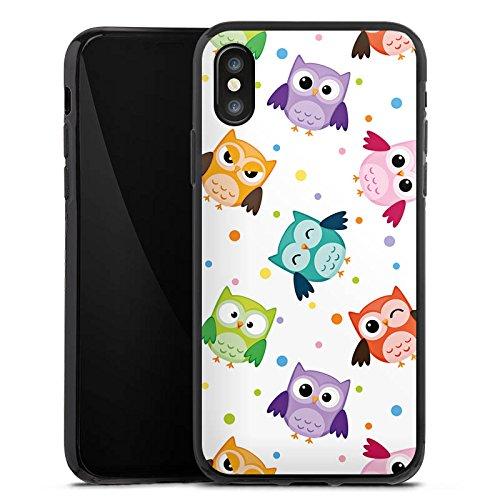 Apple iPhone 8 Tasche Hülle Flip Case Eulen Muster Bunt Silikon Case schwarz