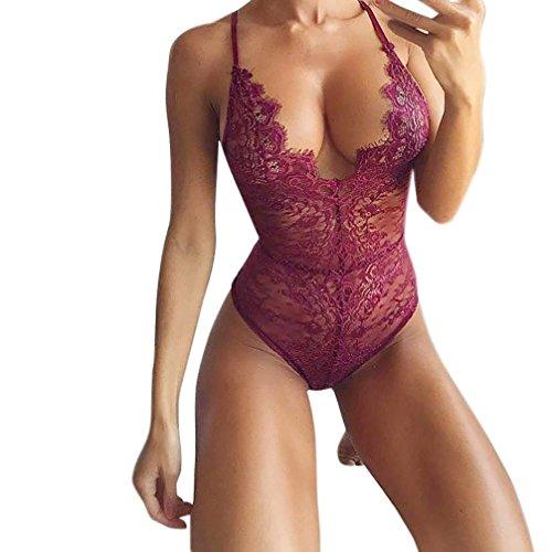 Women Lingerie, Sunday Damen Dessous Korsett Lace Underwire Rassige Musselin Bodysuit Versuchung Unterwäsche Overall (Weinrot, M) (Underwire Lace Bustier -)