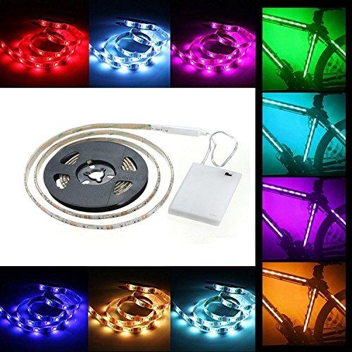 cuzile batteriebetrieben LED Strip Lichter Band Tape RGB 5050 2 m 60 LED flexible Multicolor mit...