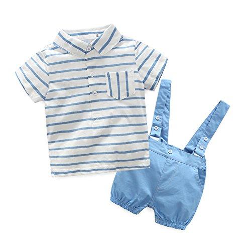MissChild 2pcs Baby Kleinkind Jungen Bekleidungssets Gentleman Kurzarm T-Shirt + Shorts mit Hosenträger Ausstattung Kleidung Set Weiß Etikett 90