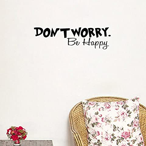 Ferris Store DON'T WORRY BE HAPPY English Letter Quotes Home Decor PVC Waterproof Wall Stickers Wallpaper