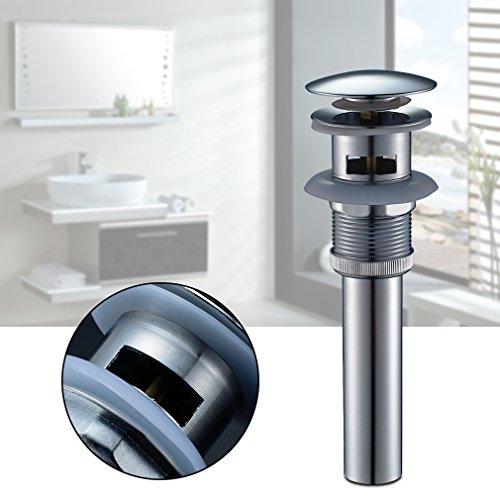 Auralum® Pulsador-Tapón lavabo de Zinc, Pop-Up, Válvula Desagüe para Bañeras, Clic Clac Ranurada con Rebosadero