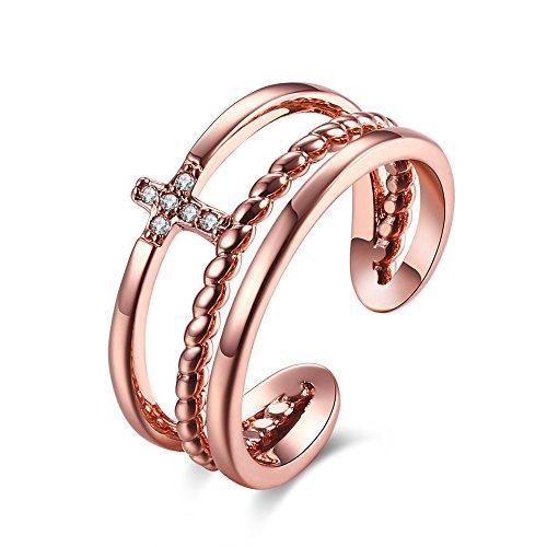 Styleziel Damen Ring Silber Gold mit kleinem Kreuz und Kristallen Dreierring Größe verstellbar Eyecatcher Neu 1860 (Rotgold) (Kreuz Ring Gold)