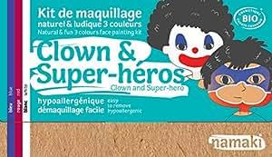 Namaki Kit de Maquillage Naturel et Ludique 3 Couleurs Clown et Super-Héros