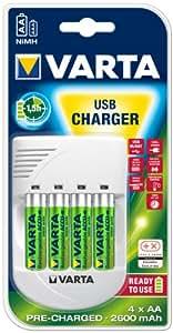 Varta - 57048201441 - Chargeur Digital USB + 4 AA - 2500 mah