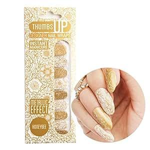 ThumbsUp Nails - Honeybee Metallic Floral Nail Wraps 20 Wraps / Pack