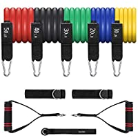Terra Hiker Exercise Resistance Bands Set Up to 150 lbs, Fitness Stretch Bands Set with 5 Fitness Tubes for Weight Exercise, Fitness Workout, Anti-Snap, with Handle Door Anchor, Leg Ankle Straps