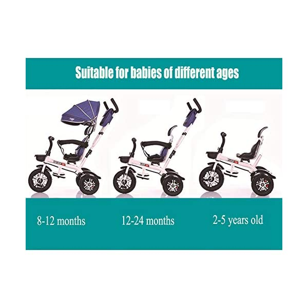 GSDZSY - 3 In 1 Children Tricycle Stroller 3 Wheel Bike,with Removable Push Handle Bar,Damping Rubber Wheel, Detachable Awning And Guardrail,6-72 Months,E GSDZSY  2