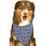deyhfef Blue Damask Neckerchief/Suit Dog Bandana Scarf