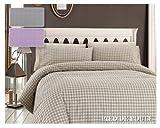 Lenzuola in puro cotone completo camera da letto pied de poule fantasia optical misura Matrimoniale 2 piazze colore grigio