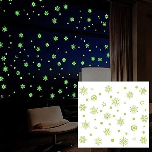 EROSPA® - Deko-Aufkleber Schneeflocken Sterne - Leuchtend - Glow in The Dark Fenster-Aufkleber - Wand-Aufkleber Dekoration - grün (The Glow In Dark-wand-aufkleber)