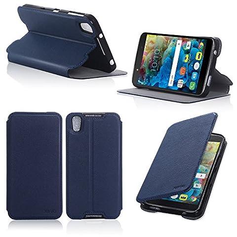 Alcatel Onetouch IDOL 4 5.2 zoll 4G/LTE Dual Sim Tasche Leder Hülle blau Cover mit Stand - Zubehör Etui Alcatel Idol 4 Flip Case Schutzhülle (PU Leder, Handytasche blue) - XEPTIO accessories