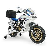 Motorrad in Weiß 6V für Kinder ab 3 Jahren mit Stützräder und Koffer HONDA Africa Twin
