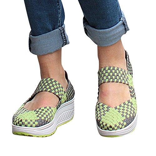 XiaoYouYu Fitness Shoes, Semelle compensée femme Vert