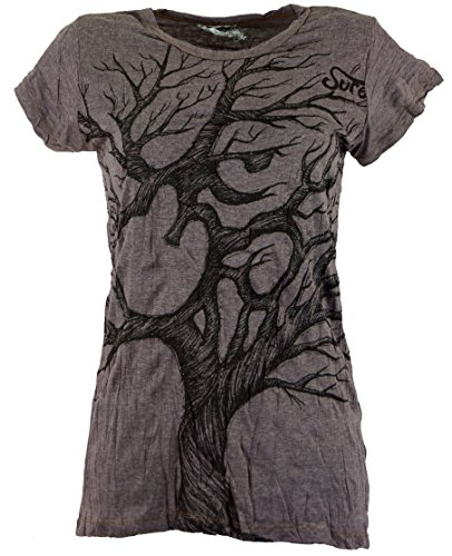 Guru-Shop Sure T-Shirt Om Tree, Damen, Taupe, Baumwolle, Size:S (36), Bedrucktes Shirt Alternative Bekleidung (Taupe Bekleidung)