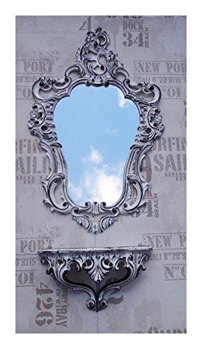 2-teiliges Set in Weiß Schwarz bestehend aus Wandspiegel + Wandkonsole Oval Barock Antik 50x76cm Flur Eingangsmöbel Möbel Konsole Ablage Spiegel + Wandregal