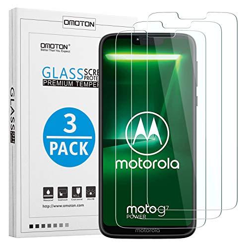 OMOTON [3 Stück] Panzerglas Schutzfolie für Motorola Moto G7 Power (6.2 Zoll), 9H Härte, Anti-Kratzen, Anti-Öl, Anti-Bläschen,Kristall-klar
