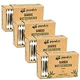 pandoo 4er Pack Bambus Wattestäbchen mit großem Sicherheitskopf | biologisch abbaubar, vegan & nachhaltig