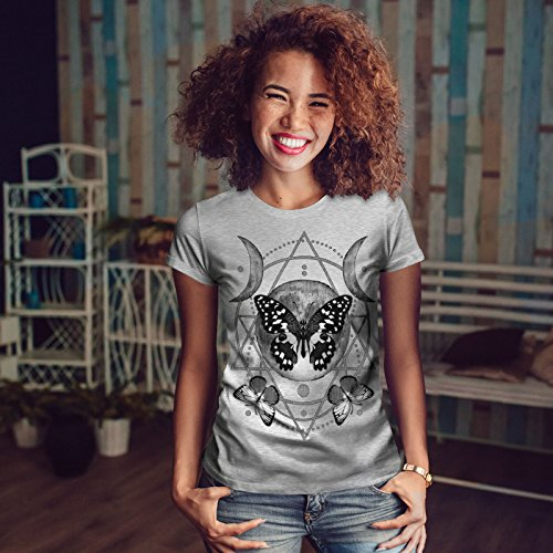 wellcoda Lune Cycle Papillon Femme S-2XL T-Shirt Gris